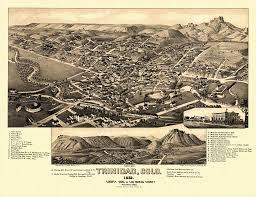 Map Of Trinidad Vintage Poster Old Map Of Trinidad Colorado 1882 Las Animas County