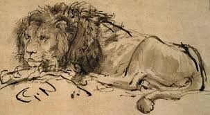 file rembrandt a lion lying down 207063 detail jpg wikimedia commons