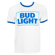 Bud Light Logo Light Logo Men U0027s White Ringer T Shirt