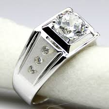 white silver rings images Diamond men ring center 2 carat simulated diamond engagement ring jpg