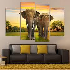 4 panel hd printed modular canvas painting elephants canvas print
