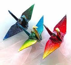 rainbow ombre peace crane bird wedding cake topper favor