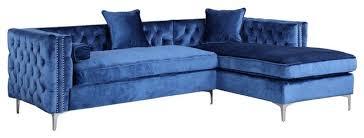 Blue Velvet Sectional Sofa by Da Vinci Velvet Button Tufted Right Facing Sectional Sofa