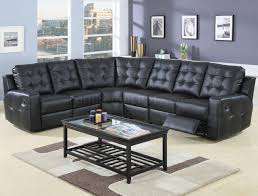 Reclining Modern Sofa Modern Leather Reclining Sectional Sofa 600315 Black