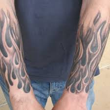 black and grey flame half sleeve tattoo by steve anderson yelp