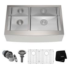 kraus farmhouse apron front stainless steel 33 in double basin
