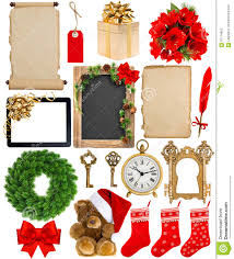 christmas decorations ornaments flowers and gifts stock photo