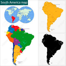 Columbia South America Map Colorful South America Map With Countries And Capital Cities