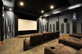room with black walls home design ideas brown microfiber theater couches with blue grey and black walls media room