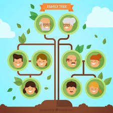 minimalist family tree with green leaves vector free download