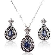 beautiful stone necklace images Addic bold beautiful etanic blue stone pendant earrings set jpg