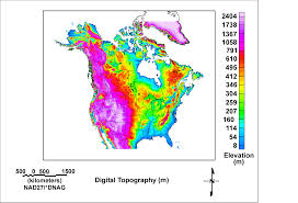 Map Uf Usa by Elevation Map Of Usa And Canada Maps Of Usa