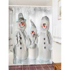 Snowman Curtains Kitchen Waterproof Polyester Snowman Christmas Shower Curtain Grey White