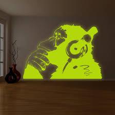 banksy glowing vinyl wall decal monkey with headphones glow zoom