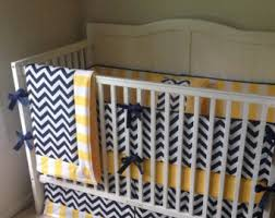 Blue And Yellow Crib Bedding Navy Yellow Nursery Etsy