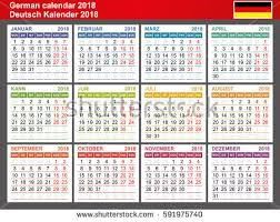 Kalender 2018 Germany Calendar 2017 Each Month Differently Colored Stock Vector