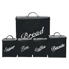 Black Kitchen Canister Sets Kitchen Canister Storage Set Five Piece Bread Sugar Tea Coffee