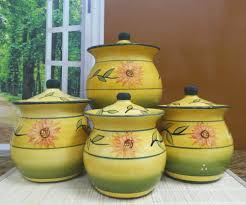 4 Piece Kitchen Canister Sets Sunflower Garden Collection Handcrafted 4 Piece Kitchen Canister