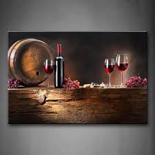 brown wine with grapes and barrel wall art painting the picture