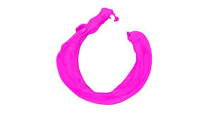 pink ring of color splashing and flowing in slow motion isolated