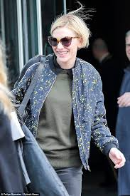 cate blanchett shows off her new bobbed haircut in nyc daily