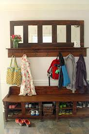 Entryway Storage Bench With Coat Rack Mudroom Bench And Coat Rack Tutorial Links Within The Post