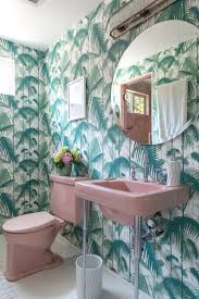 a golden girls inspired bathroom palm print and vintage pink