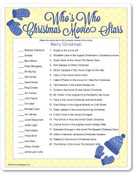 printable who u0027s who christmas movie stars holiday pinterest