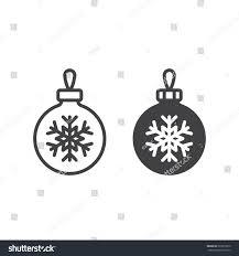 christmas tree ball snowflake line icon stock vector 522015670