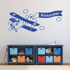 Wall Decals For Nursery Boy Removable Diy Boys Room Decal Custom Boys Name Plane Wall Sticker