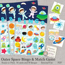 halloween bingo cards printable outer space bingo printable astronaut bingo game instant