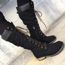 womens boots the knee black faux leather calf length mountain boots cicihot boots