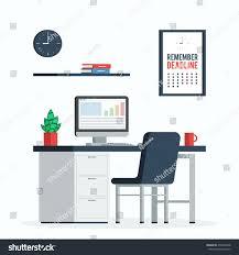 Plants For Desk Workplace Computer Clock Poster Remember Deadline Stock Vector