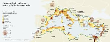 Population Map Population Density And Urban Centres In The Mediterranean Basin