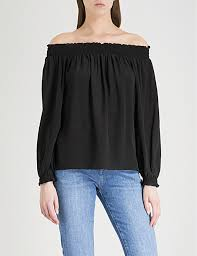 the shoulder black blouse the shoulder tops clothing womens selfridges shop