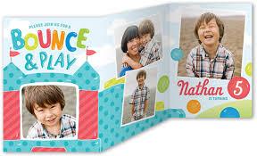 bounce and play 5x7 tri fold invitation card birthday