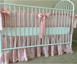 Solid Pink Crib Bedding Pink Crib Bedding Set With Ruffle Trim And Sash Ties Handcrafted