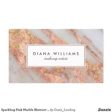 sparkling pink marble abstract makeup artist business card an