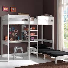 lit surélevé avec bureau lit mezzanine en pin massif 90x200cm avec bureau