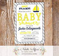 nautical baby shower invitations navy blue yellow sail boat nautical baby shower invitation