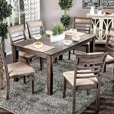 taylah 7pcs weathered gray dining set