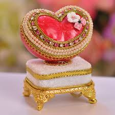 heart gifts egg carving cutout small heart jewelry box ring musical box