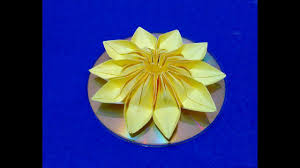 easy origami flower on cd diy 3d flower room decorating ideas