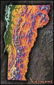 Topographic Map Of The World by Colorful Vermont Wall Map 3d Physical Topography Of Terrain