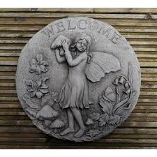 Garden Wall Plaque by Stone Garden Plaque Welcome Sign Fairy Onefold Uk