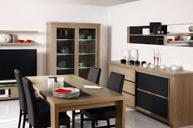 Black Leather Chairs And Dining Table Furniture For Dining Room With Modern Buffet Dining Table Glass