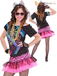 ladies 1980s rock costume adults 80s neon fancy dress retro