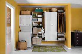 Laundry Room Storage Cabinets by Floating White Wooden Cabinet With Shelves And Pole For Hanging
