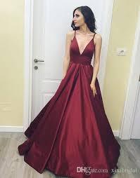 dresses for prom 2018 burgundy simple v neck prom dresses spaghetti