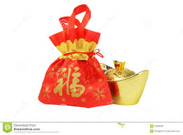 bag new year new year gift bag and gold inpgot ornament royalty free